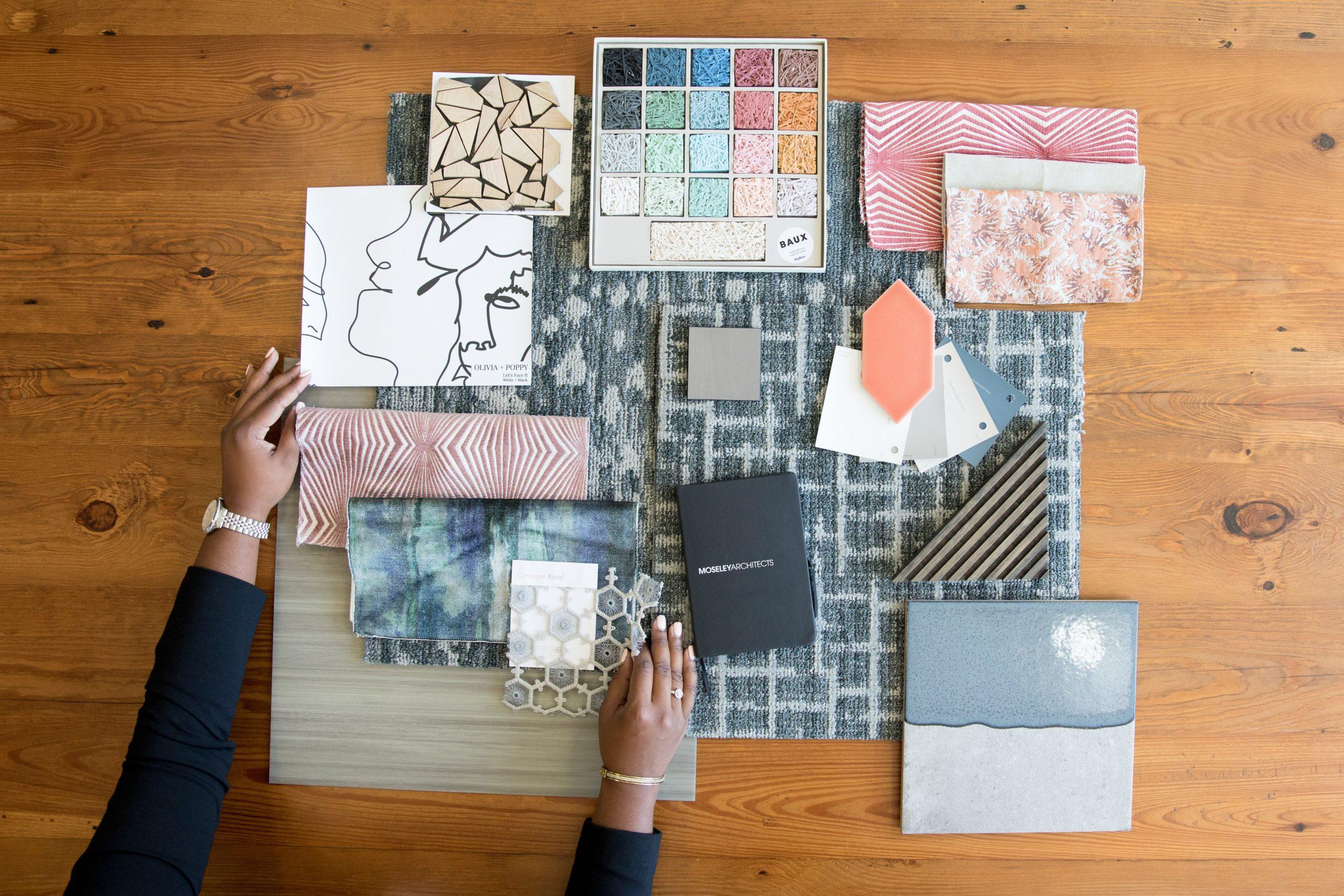 Interior designer selecting textiles